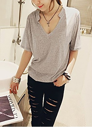 Cotton Solid V-Neckline Short Sleeve Casual T-shirts & Vests