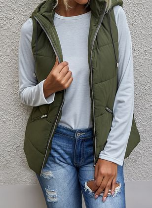 Sleeveless Hooded Pockets Gilet Coats (146719140)
