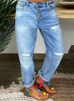 Casual Loose Hollow Out Buttons Pockets Mid Waist Polyester Jeans Pants (147049208)