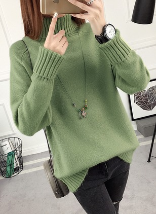 Cotton High Neckline Solid Loose Ruffles Others Sweaters