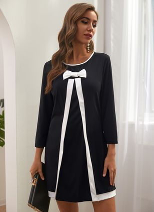 Solid Round Neckline 3/4 Sleeves Above Knee A-line Dress (122029217)