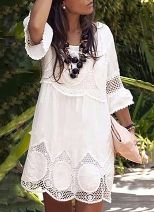 Solid Lace 3/4 Sleeves Shift Dress
