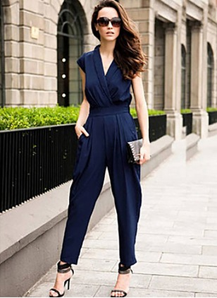 Polyester Solid Cap Sleeve Casual Jumpsuits & Rompers