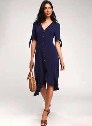 Solid Buttons Half Sleeve Midi X-line Dress