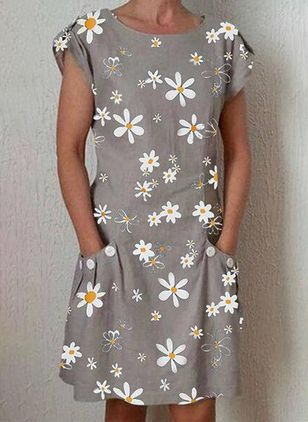 Casual Floral Round Neckline Above Knee X-line Dress (4043999)