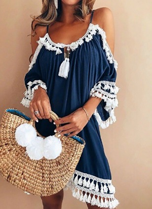 Color Block Tassel Slip 3/4 Sleeves Shift Dress