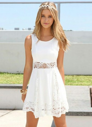 Solid Lace Skater Above Knee A-line Dress