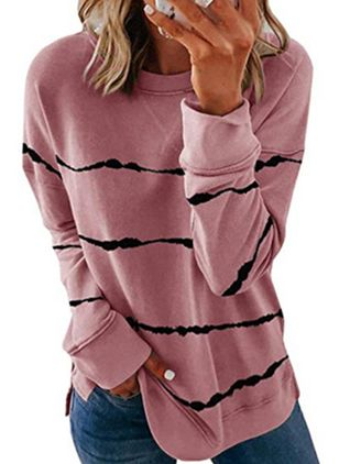 Color Block Casual Round Neckline Sweatshirts (106821736)