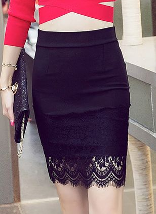 Solid Above Knee Elegant Lace Skirts