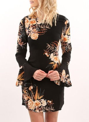 Cotton Polyester Floral Long Sleeve Mini Dresses