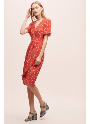 Floral Skater Short Sleeve Knee-Length X-line Dress