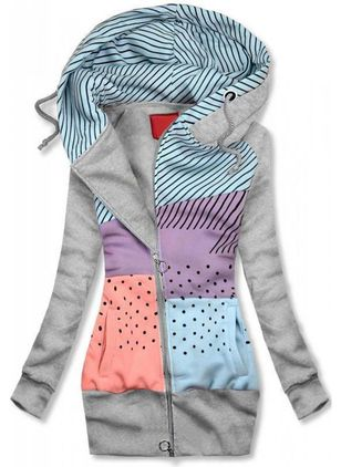 Color Block Casual Hooded Pockets Zipper Sweatshirts (118207013)