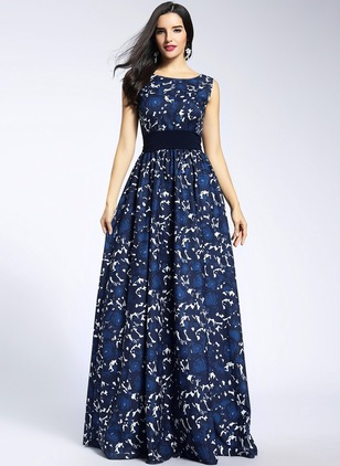 Floral Lace Sleeveless Maxi A-line Dress