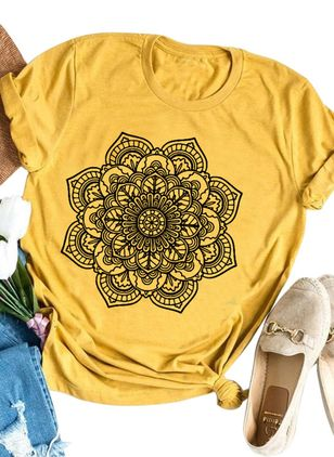 Floral Round Neck Short Sleeve Casual T-shirts (147157672)