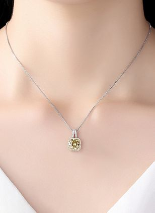 Casual Geometric Crystal Pendant Necklaces (147049222)