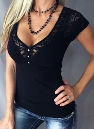 Solid V-Neckline Short Sleeve Sexy T-shirts (146963501)
