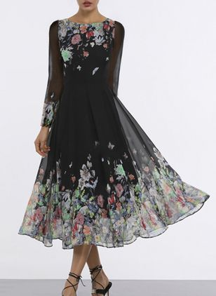 Floral Round Neckline Long Sleeve Midi X-line Dress