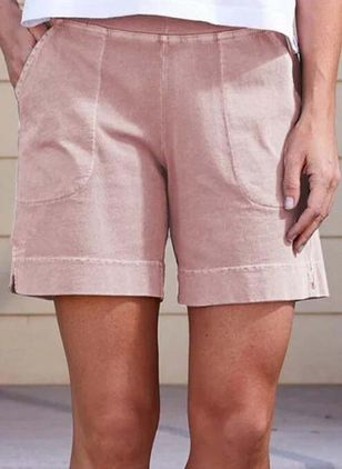 Casual Straight Pockets Mid Waist Polyester Shorts (147429681)