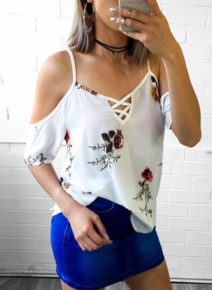 Floral Sexy Polyester Camisole Neckline Half Sleeve Blouses