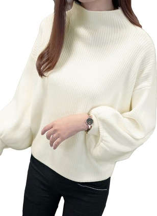 Cotton High Neckline Solid Loose Sweaters