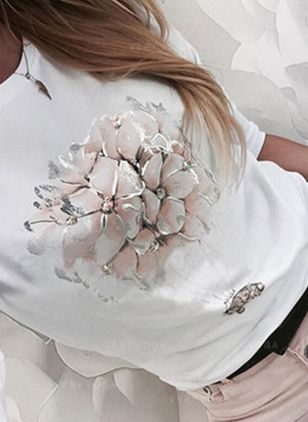 Floral Round Neck Long Sleeve Casual T-shirts (147017704)