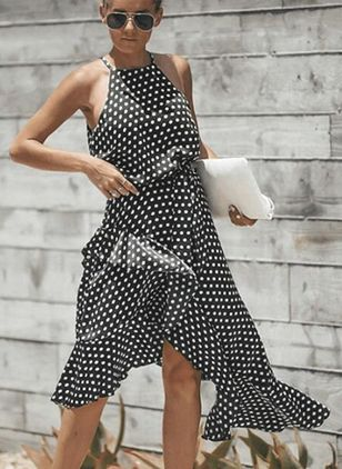 Polka Dot Ruffles Round Neckline High Low X-line Dress