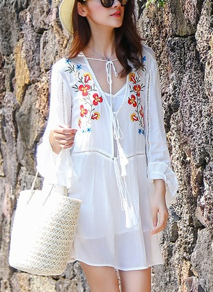 Floral Embroidery Long Sleeve Shift Dress