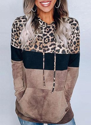 Leopard Casual Hooded Pockets Sweatshirts (120649335)