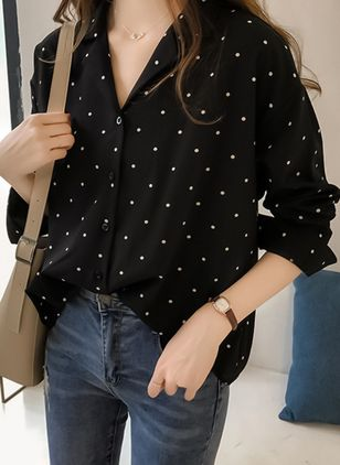Polka Dot Cute V-Neckline Long Sleeve Blouses