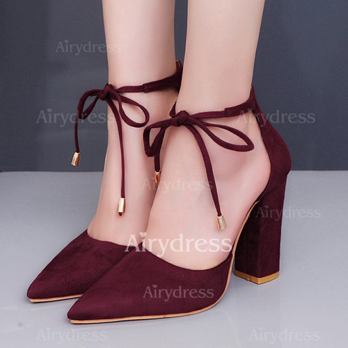 00604bc61c20 Ribbon Tie Pointed Toe Chunky Heel Shoes - Airydress