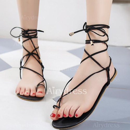 88218fccd537 Ribbon Tie Toe Ring Flat Heel Shoes - Airydress