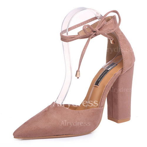 514ff6f7266e Ribbon Tie Ankle Strap Pointed Toe Chunky Heel Shoes (1237510). Share this  deal