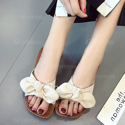 d4aa0544ad9a Bowknot Ribbon Tie Flat Heel Shoes - Airydress