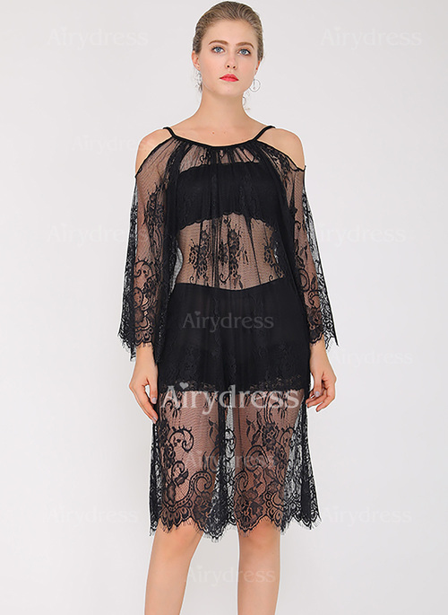 solid lace long sleeve kneelength shift dress airydress