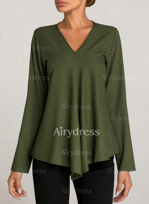 d7c2e5154ef Solid Casual V-Neckline Long Sleeve Blouses - Airydress
